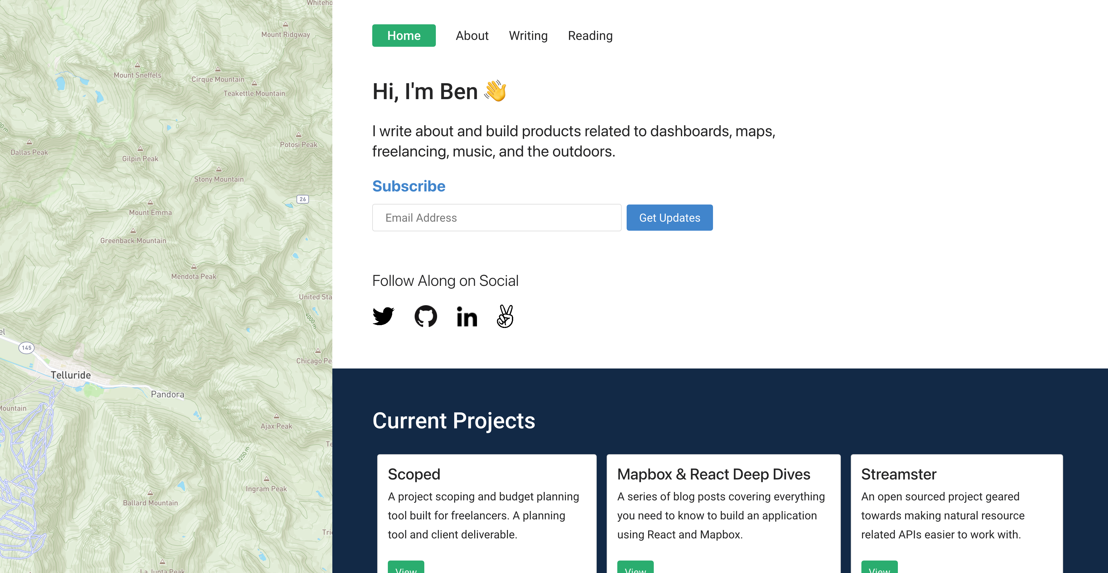 Redesigned home page with newsletter signup