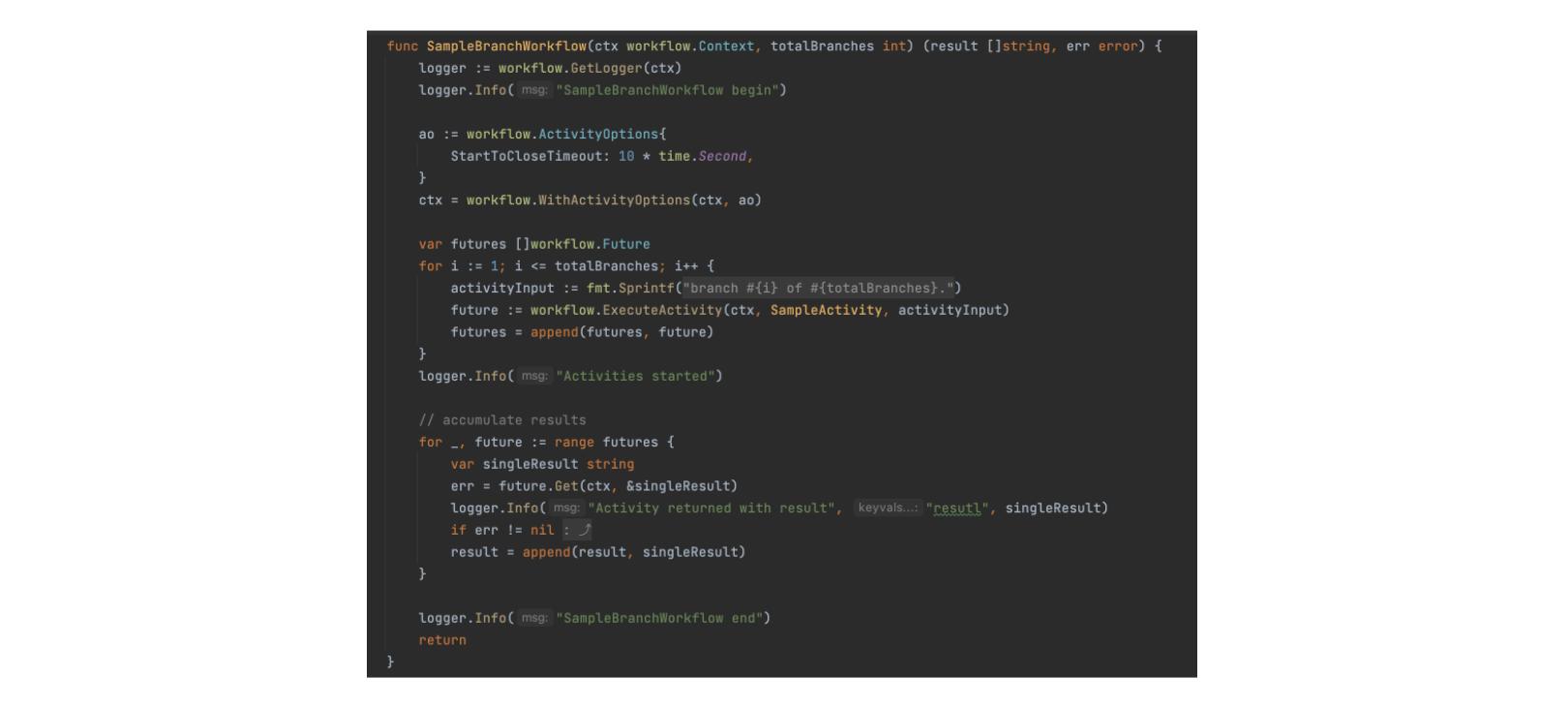 Sample programming-language based workflow