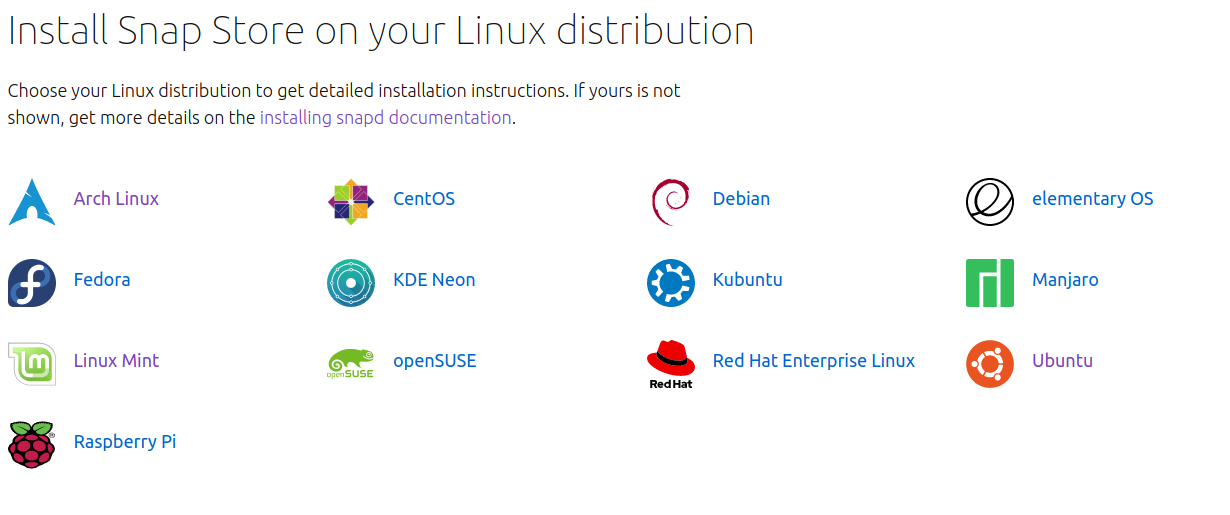 Some of the linux distros snap store is available for.