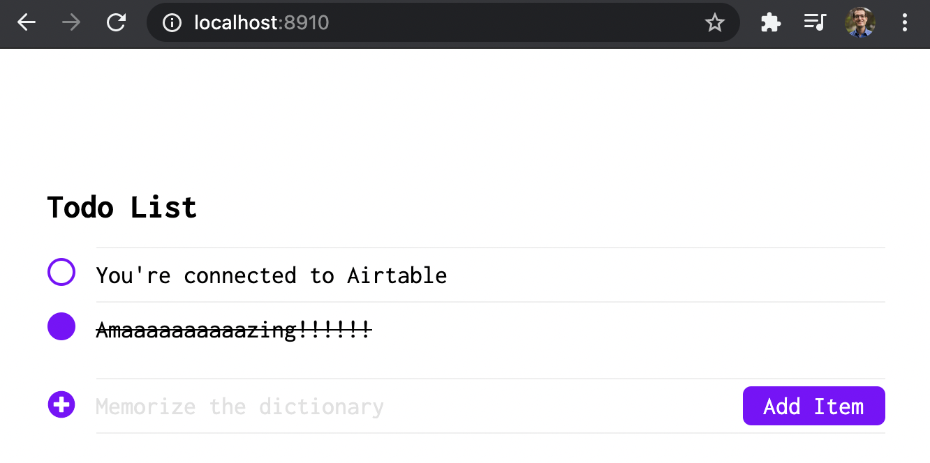 Redwood Example Todo on Localhost 8910 connected to Airtable