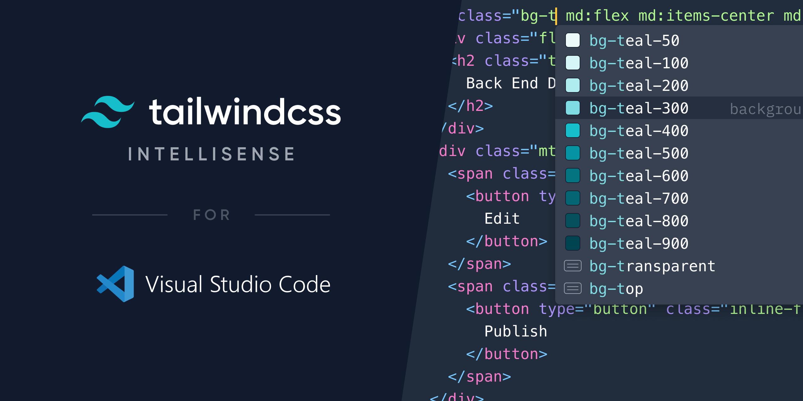 Tailwind CSS IntelliSense Image