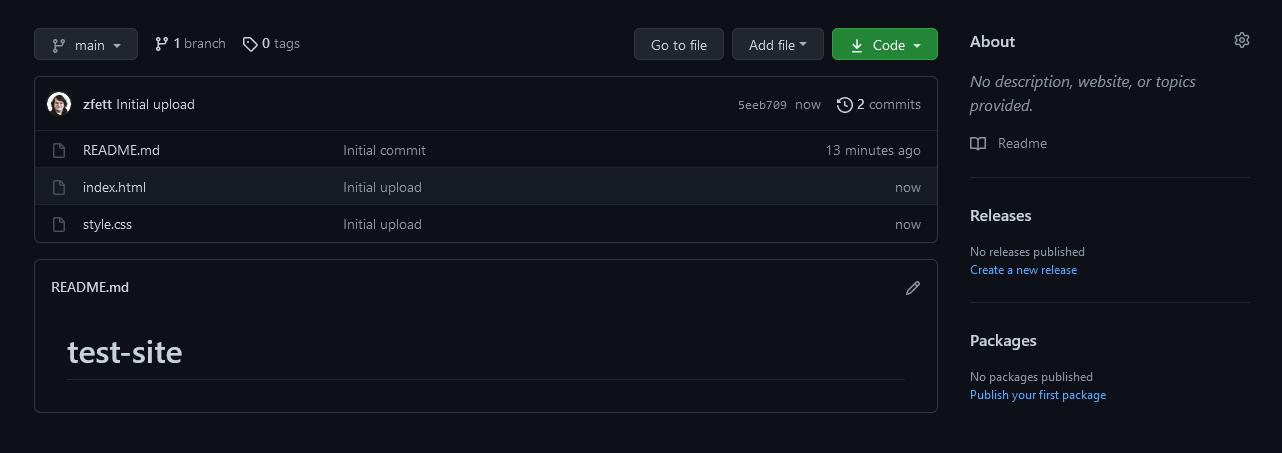 Screenshot of the GitHub repo homepage