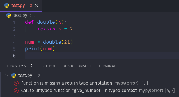 VSCode Problems pane showing the same errors