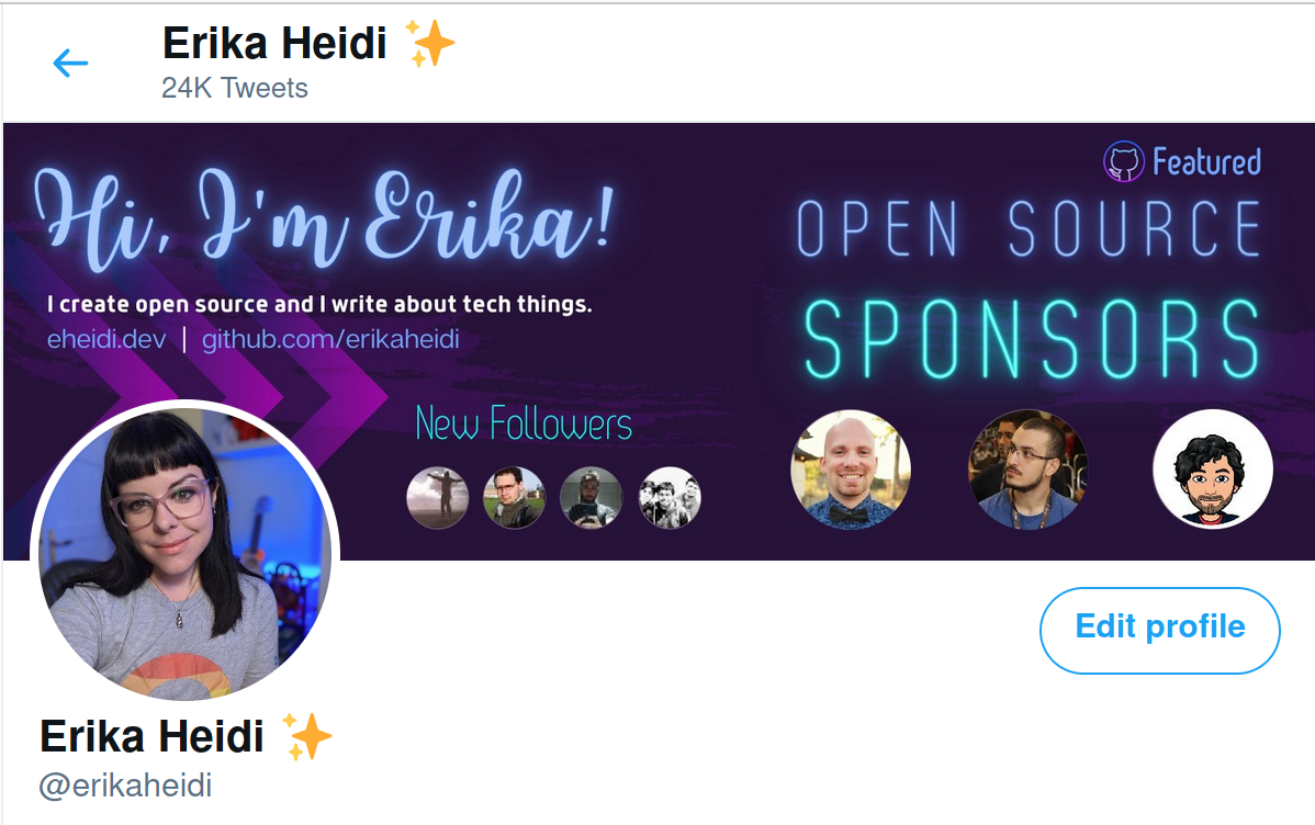 Twitter Header Image with recent followers and featured github sponsors
