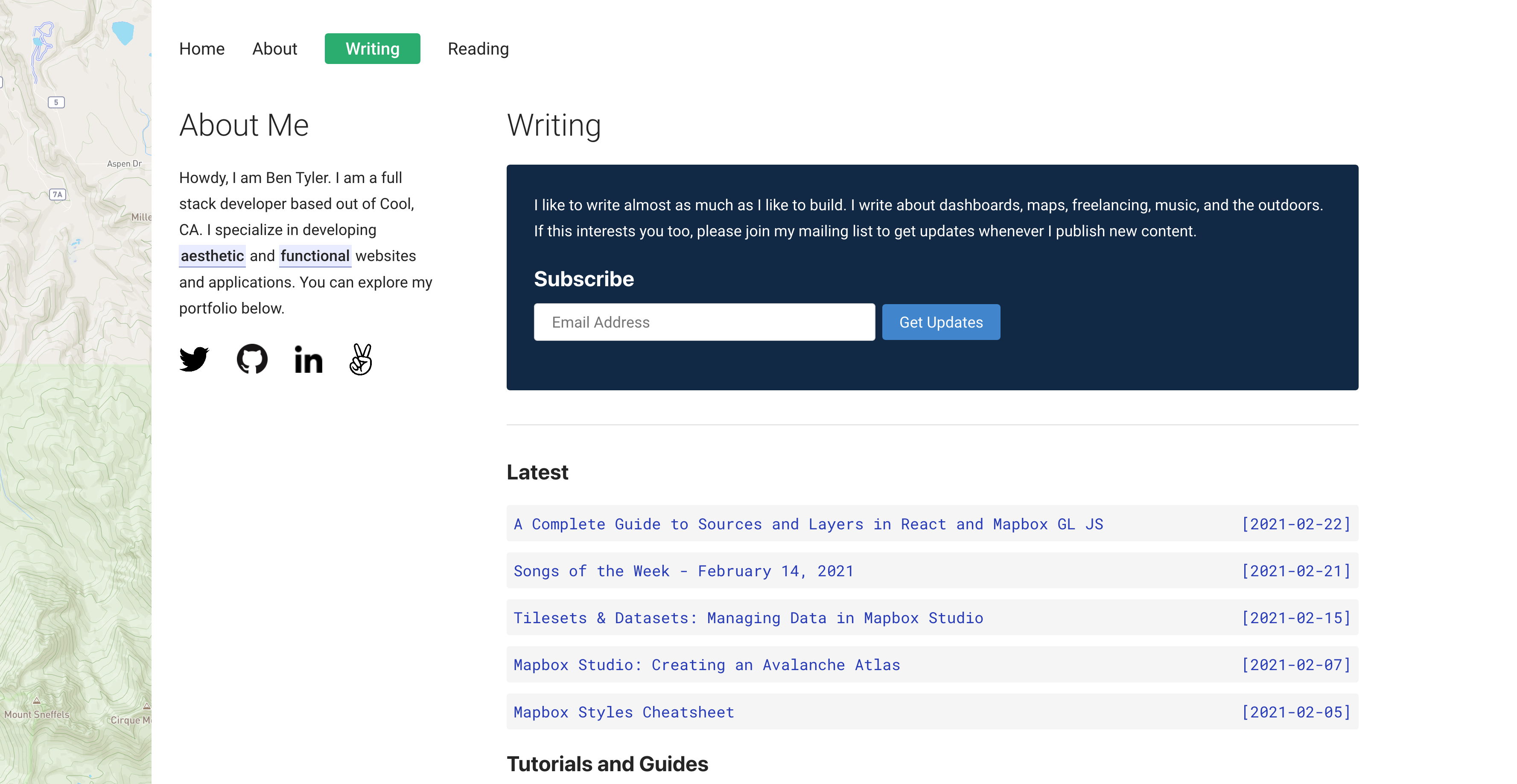 New writing layout with newsletter signup
