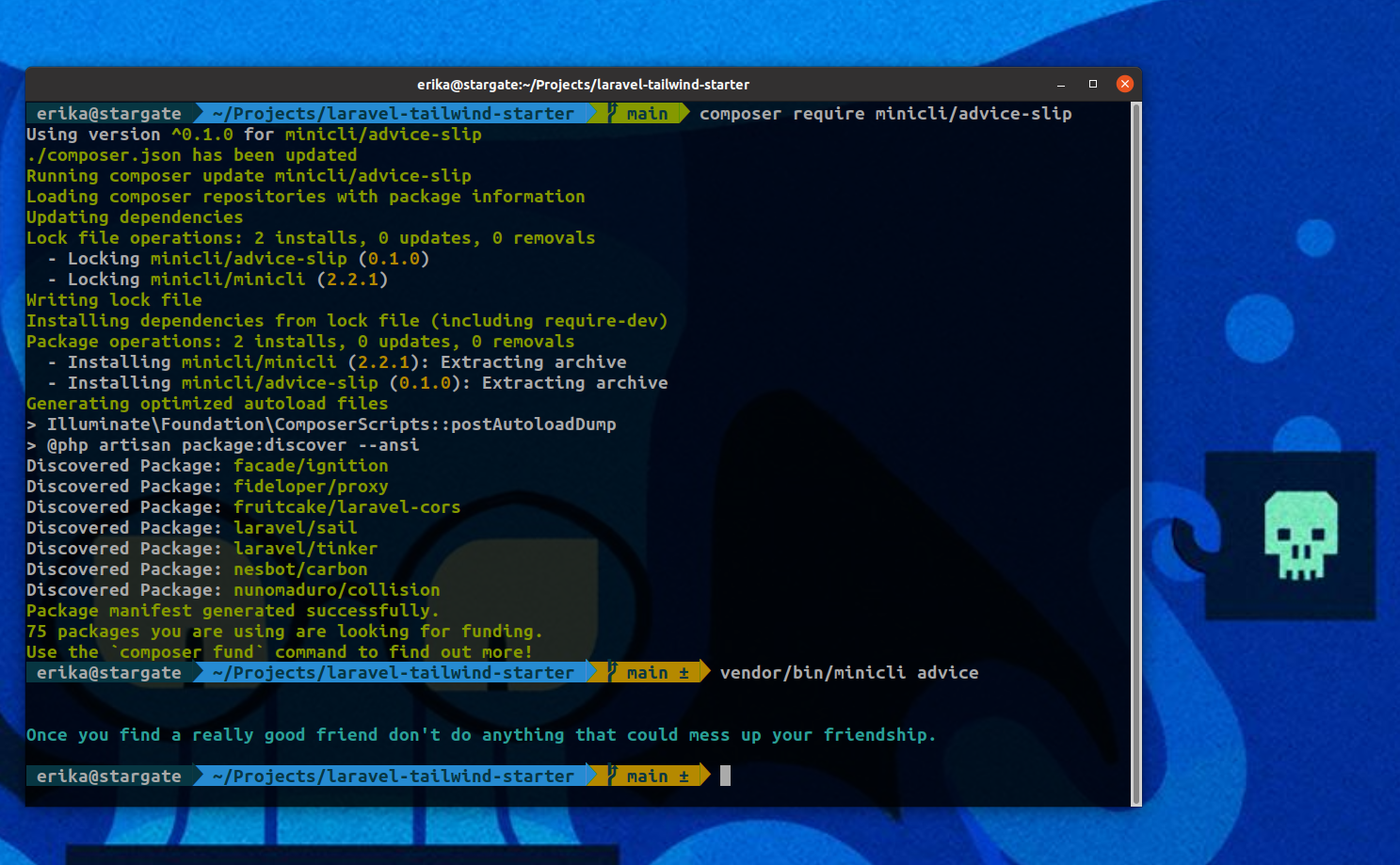 Screenshot of terminal with the composer require command installing minicli/advice-slip