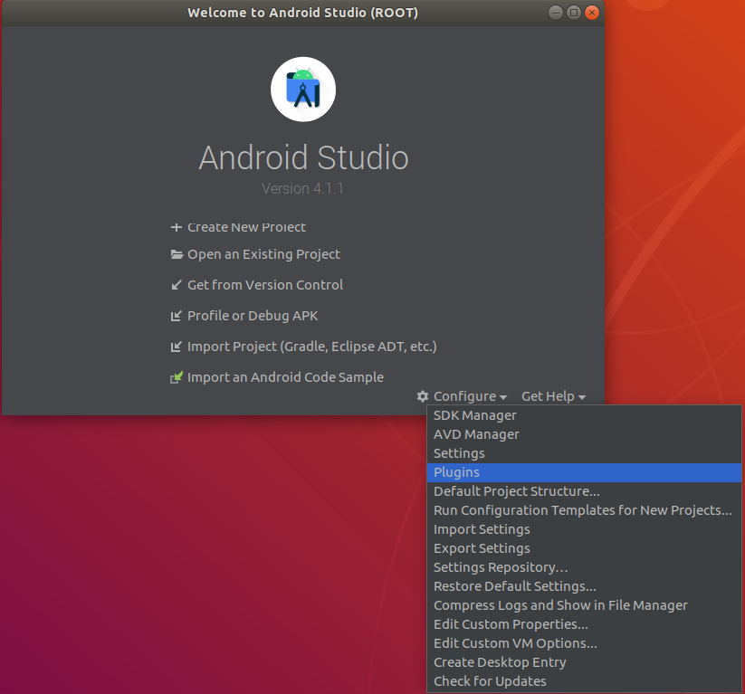 Android Studio starter screen