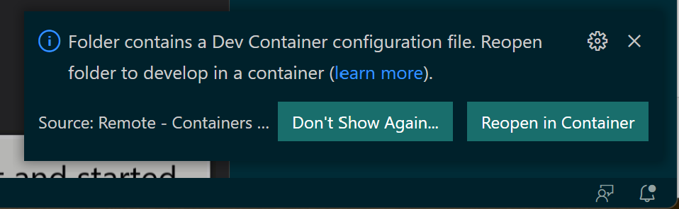 Reopen the project in a Docker container