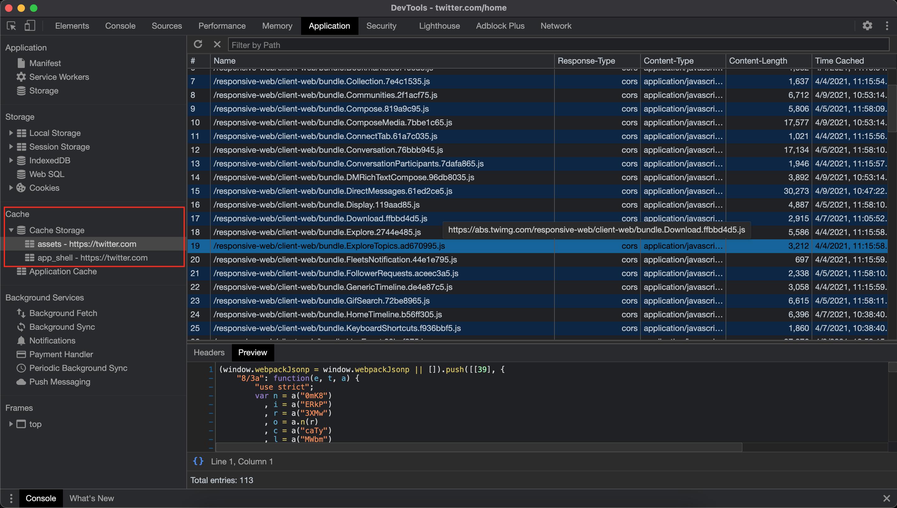 Twitter Cache Storage Chrome Dev Tools Screenshot