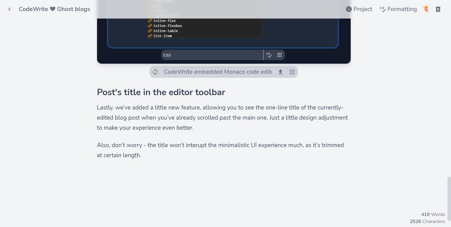 Post title in CodeWrite's editor toolbar