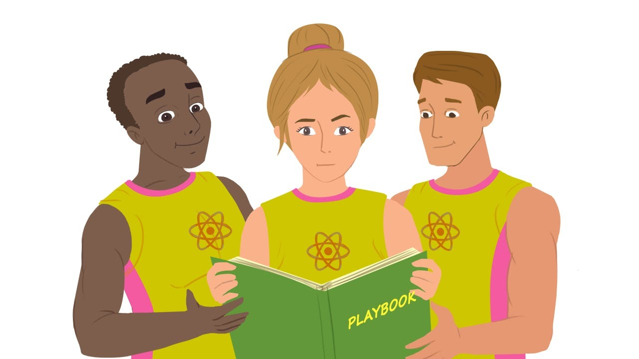 Three basketball players with the React logo on their jerseys reading a playbook together