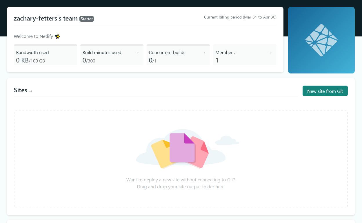 Netlify user dashboard