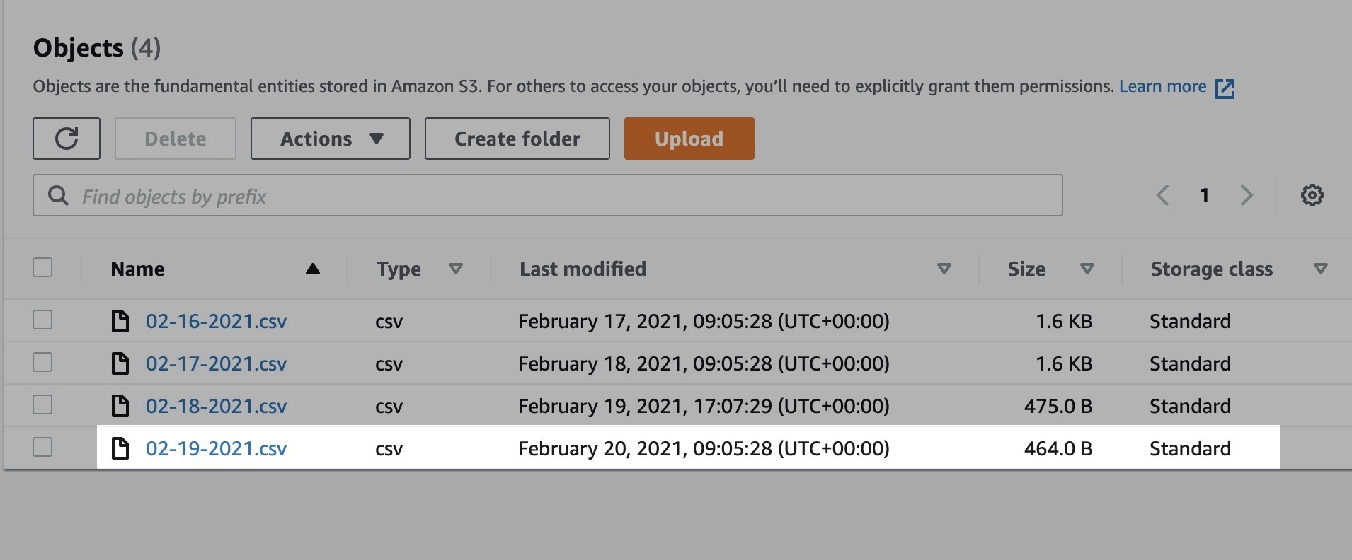 CSV file is saved on S3 bucket