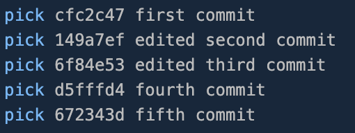 List of the last five commits with the newly edited commit messages