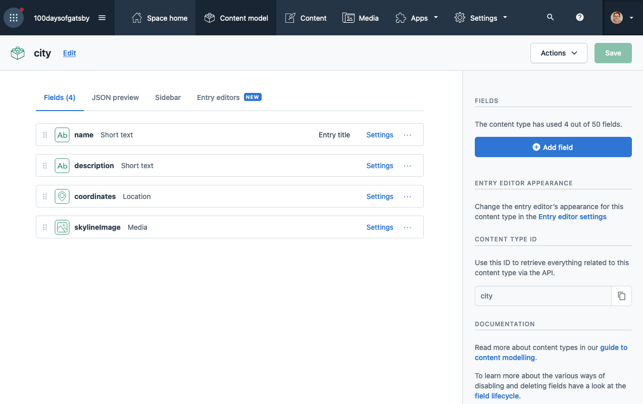 contentful dashboard showing the city content type