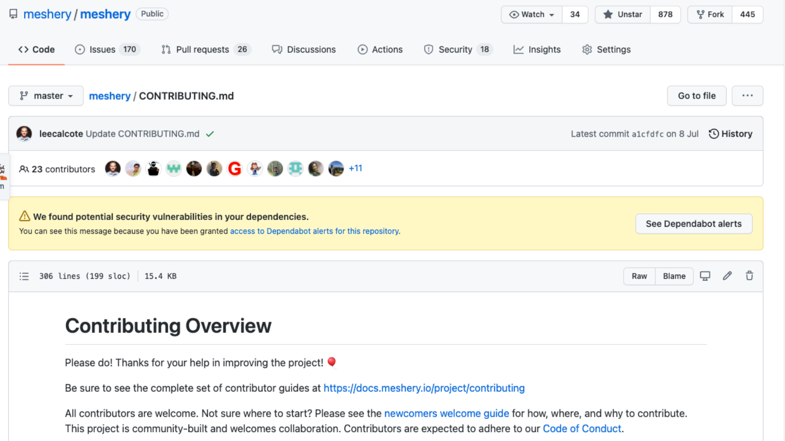 A screenshot showing the contributing guide of the Meshery project in GitHub.