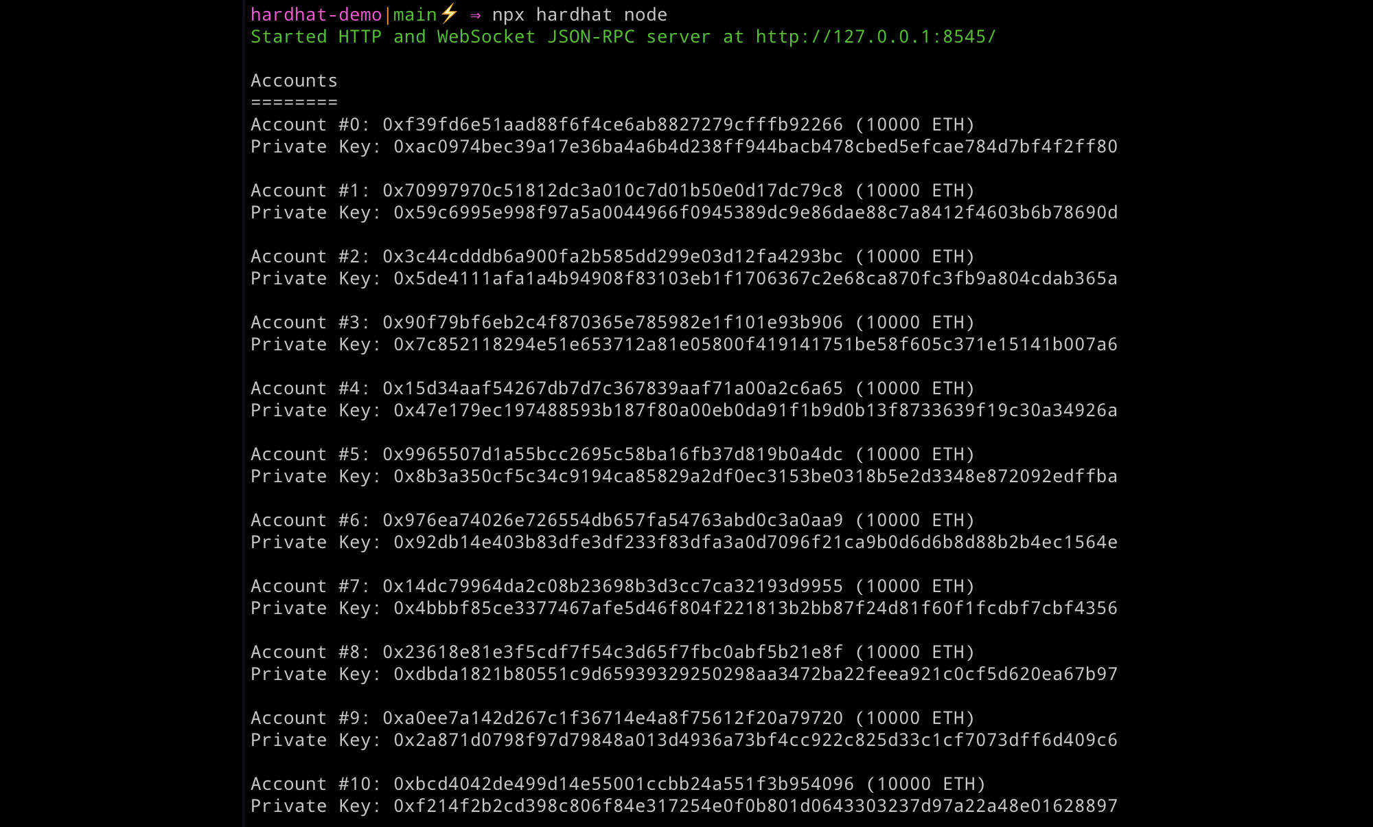 Hardhat node addresses