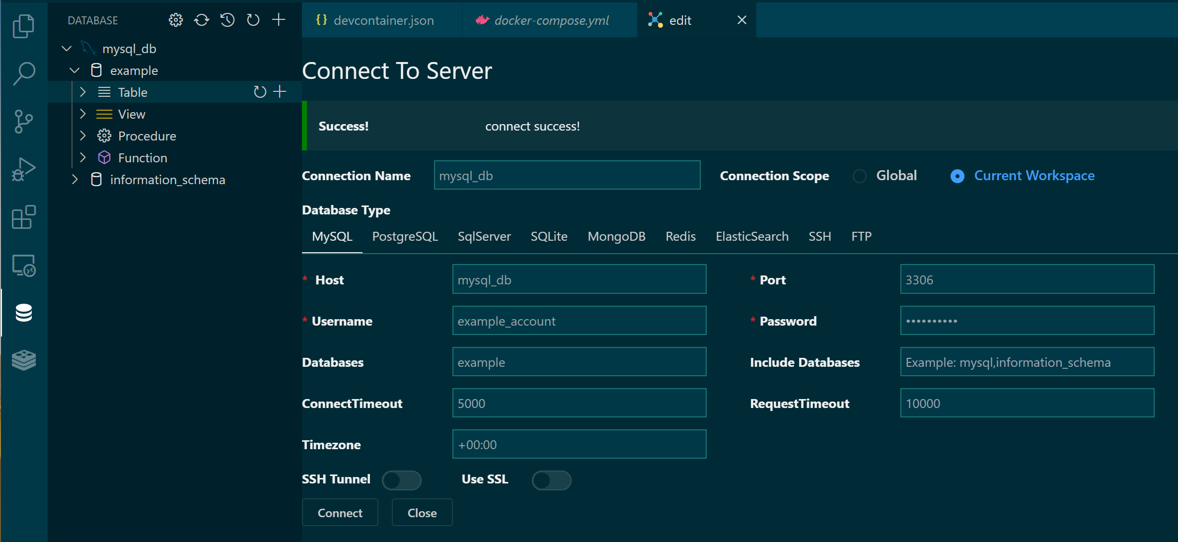 Connect to Database Server