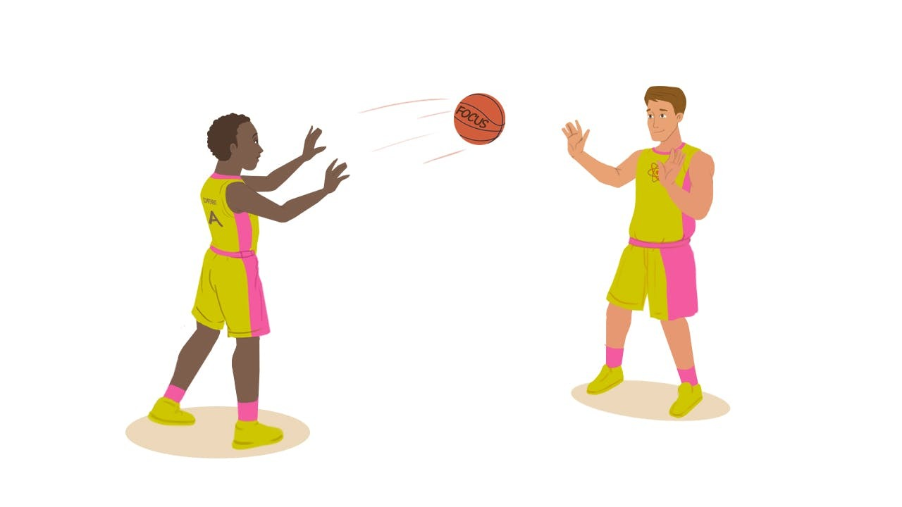 Basketball player labeled 'A' passing basketball that says 'Focus' to another player