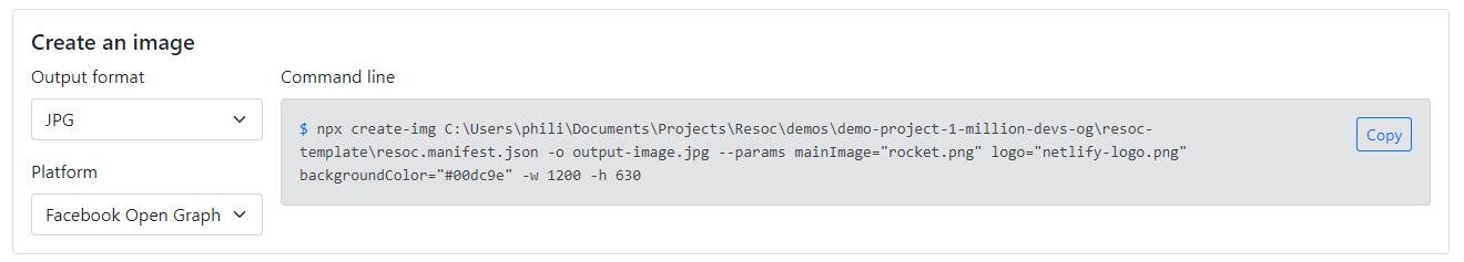 Image creation sample command line