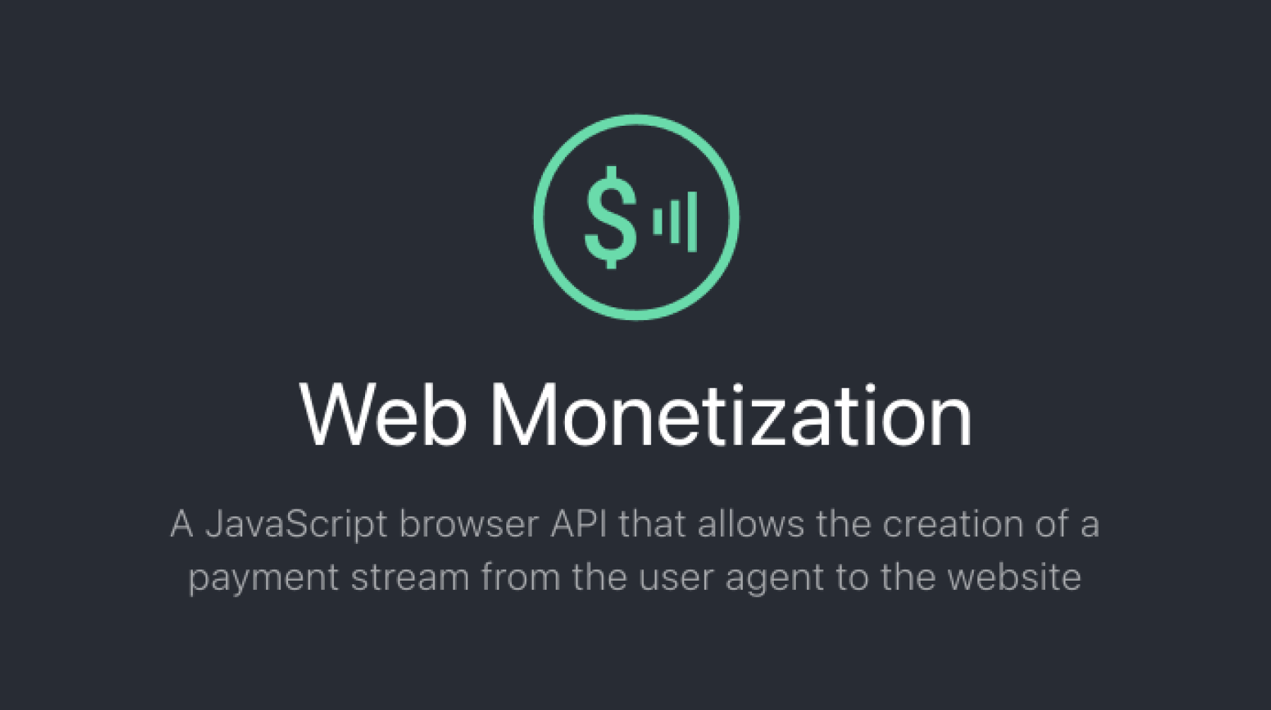 Web Monetization API