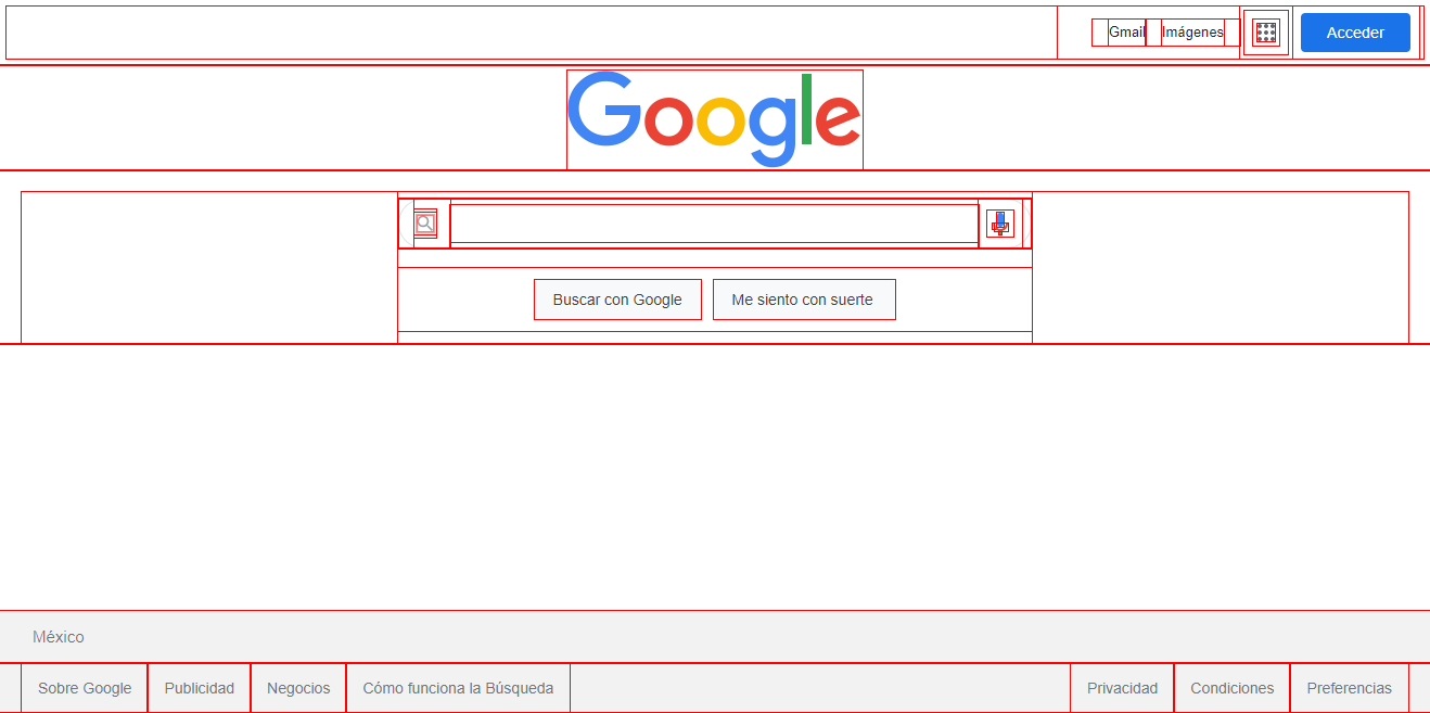 Página de inicio de Google.
