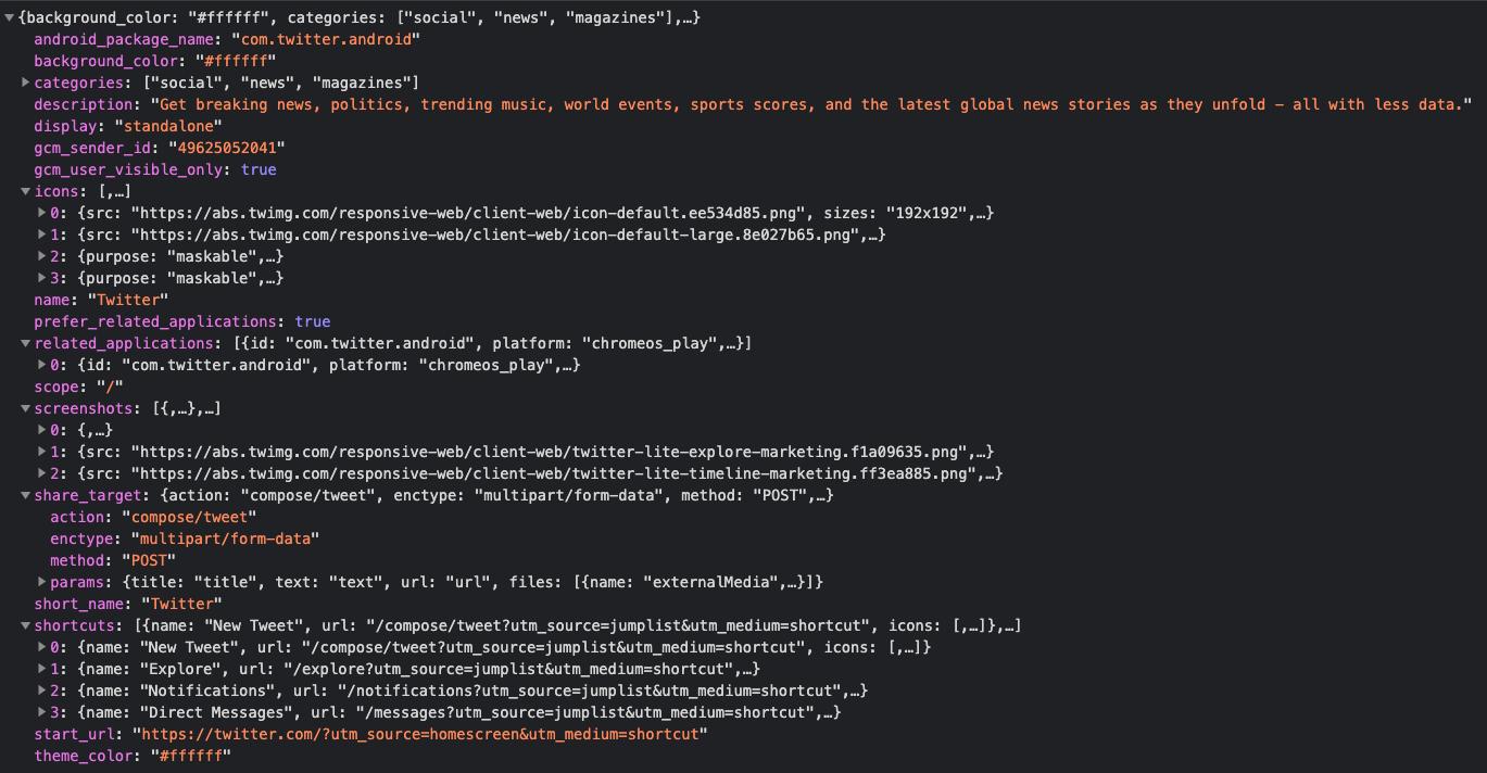 Screenshot of Twitter PWA manifest.json file