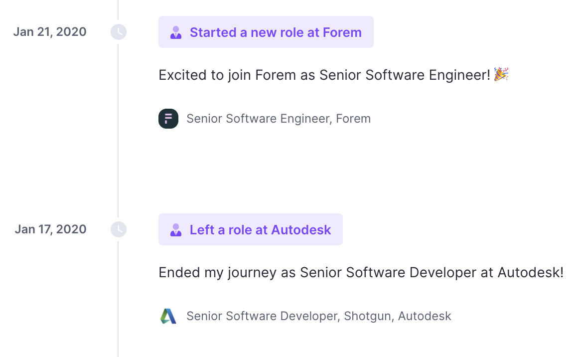 Polywork ended and started a new role highlights