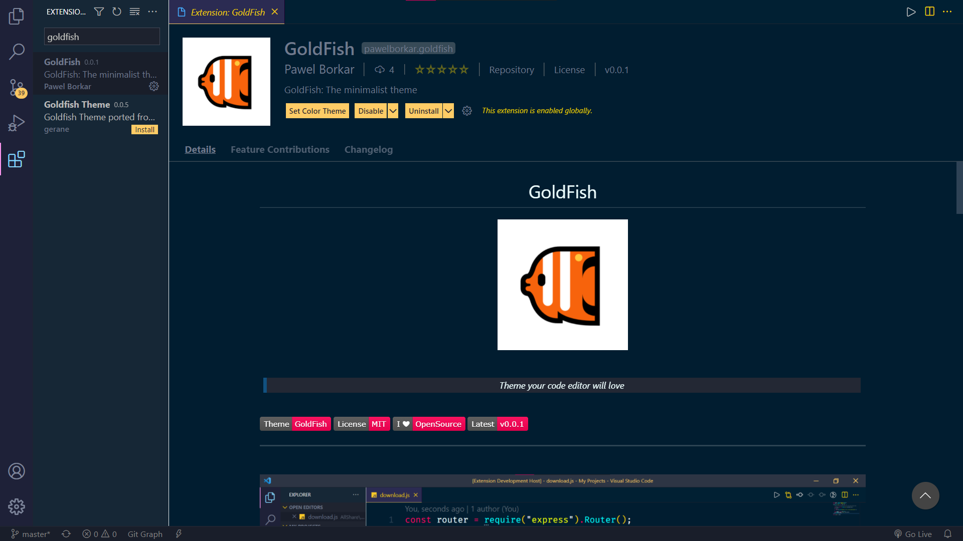 Installation Page GoldFish