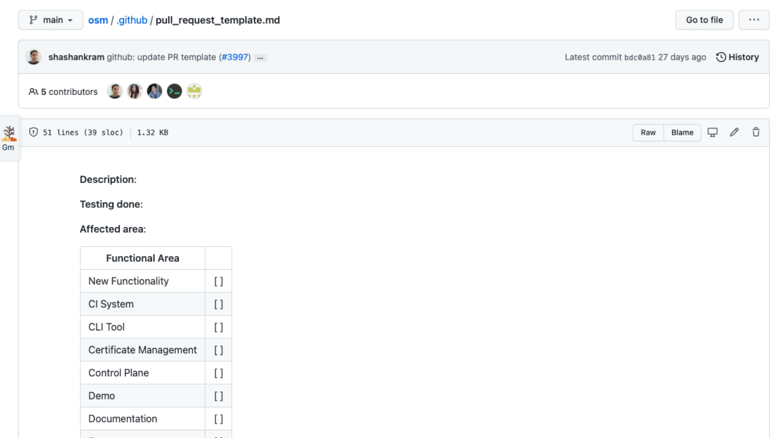 A screenshot of a pull request template from Microsoft's Open Service Mesh project.