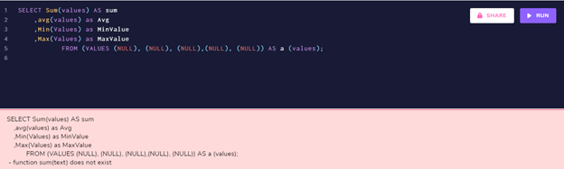 Aggregating over all NULL values results in an error.