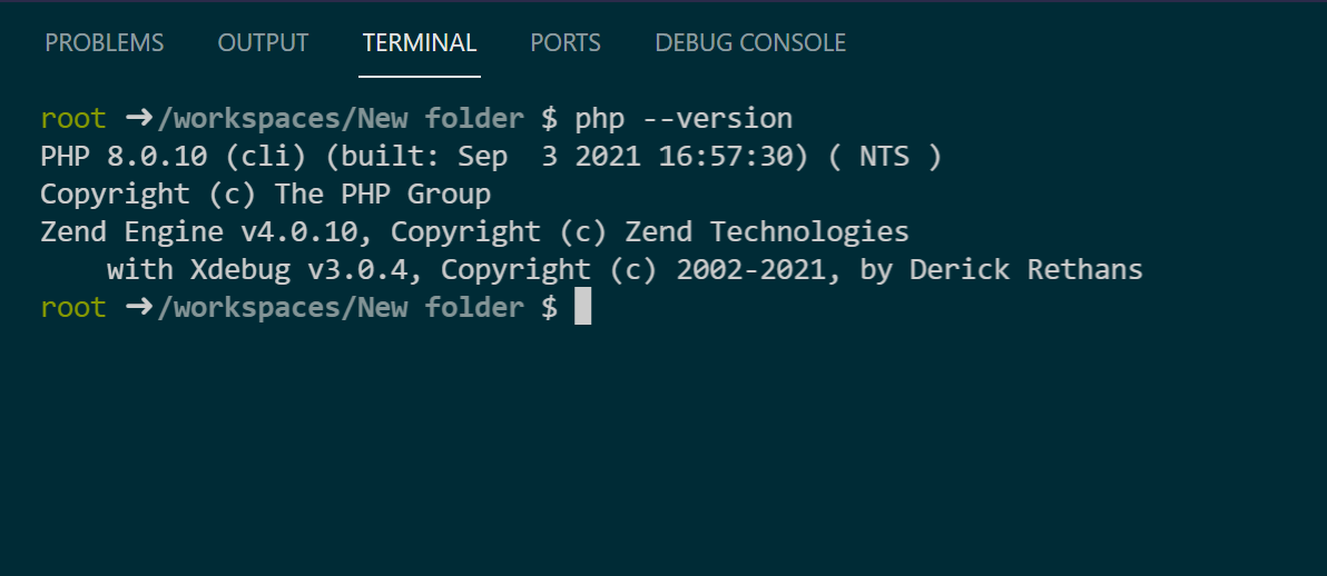 Code's Terminal opens session in the container