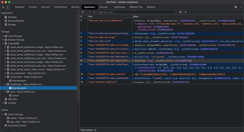 Twitter IndexedDB Chrome Devtools screenshot