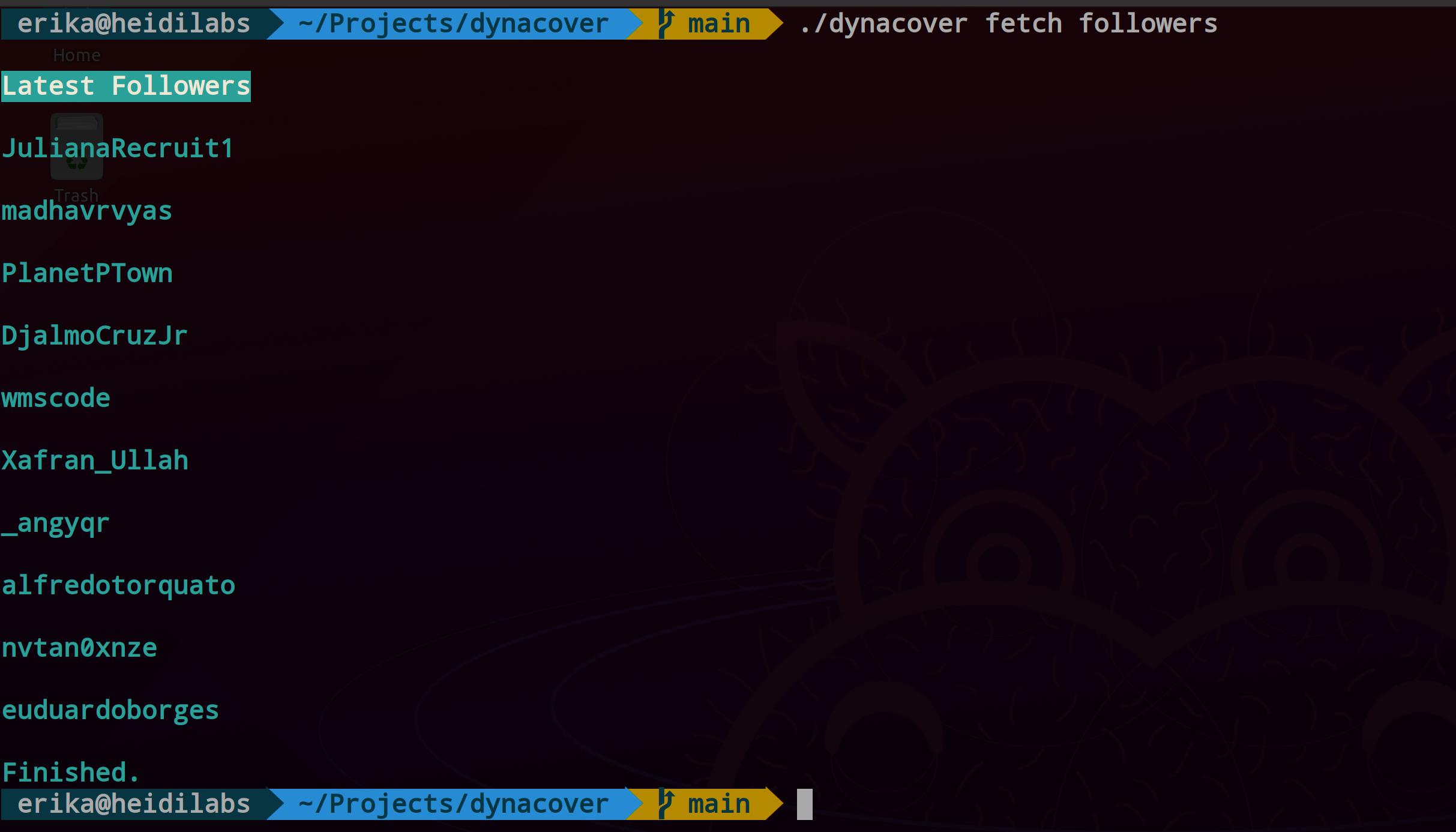 screenshot terminal list recent followers
