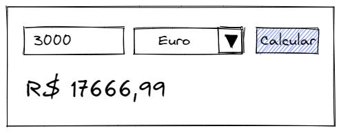 Wireframe de uma aplicação para converter de moedas
