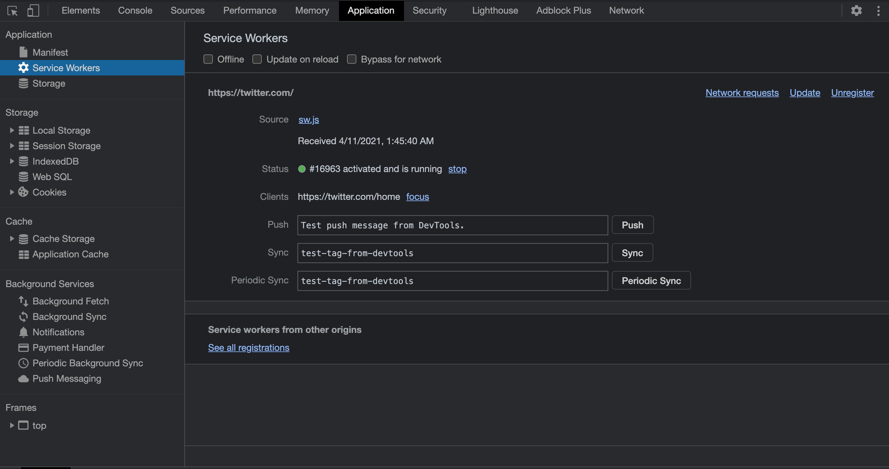 Twitter Service Worker Chrome Dev Tools Screenshot