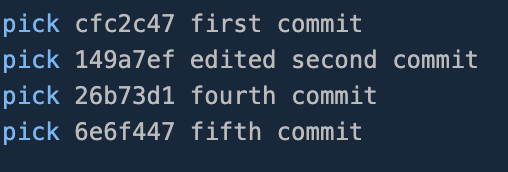 List of the last four commits with the removed