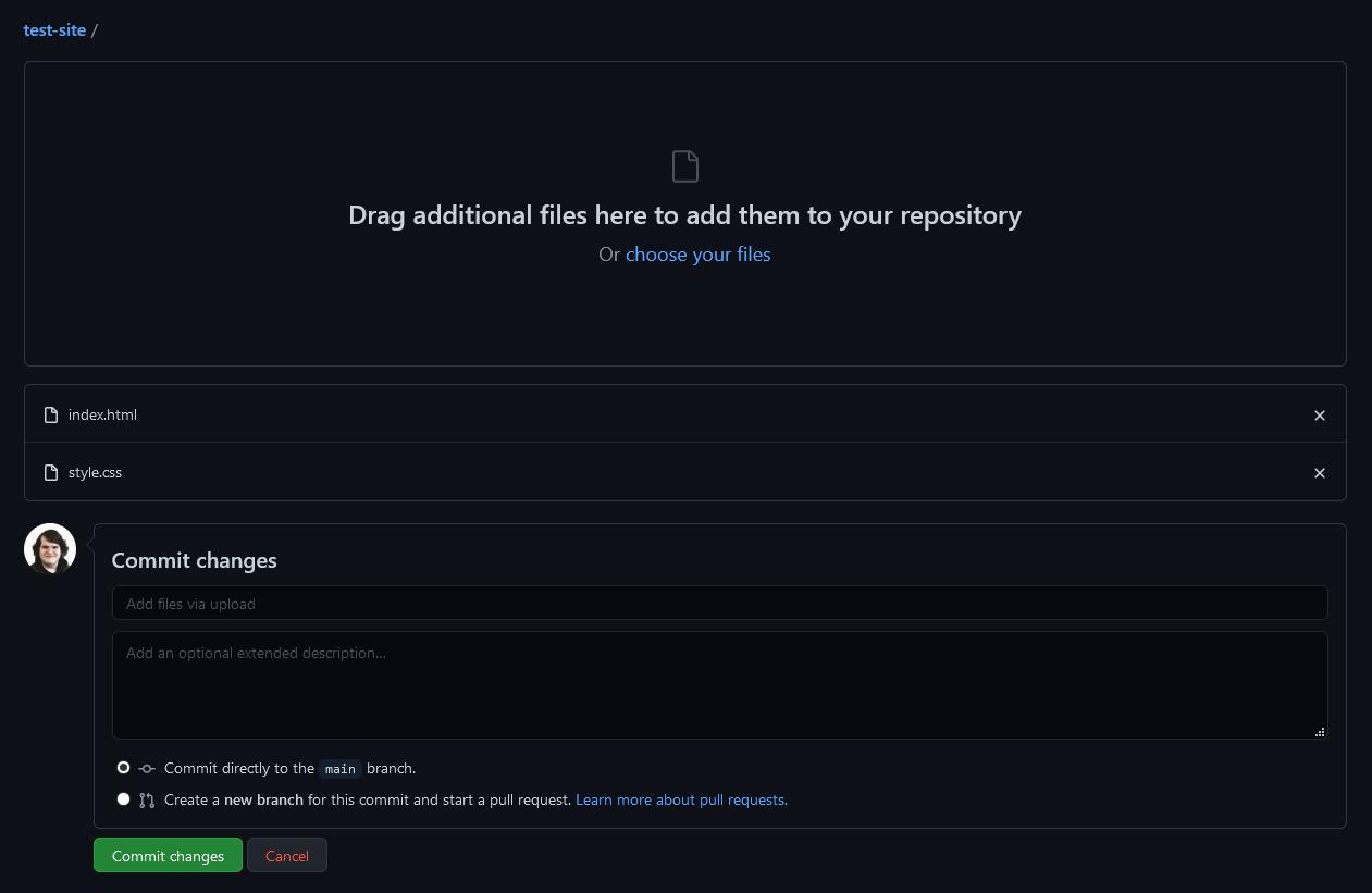 Screenshot of the GitHub web uploader