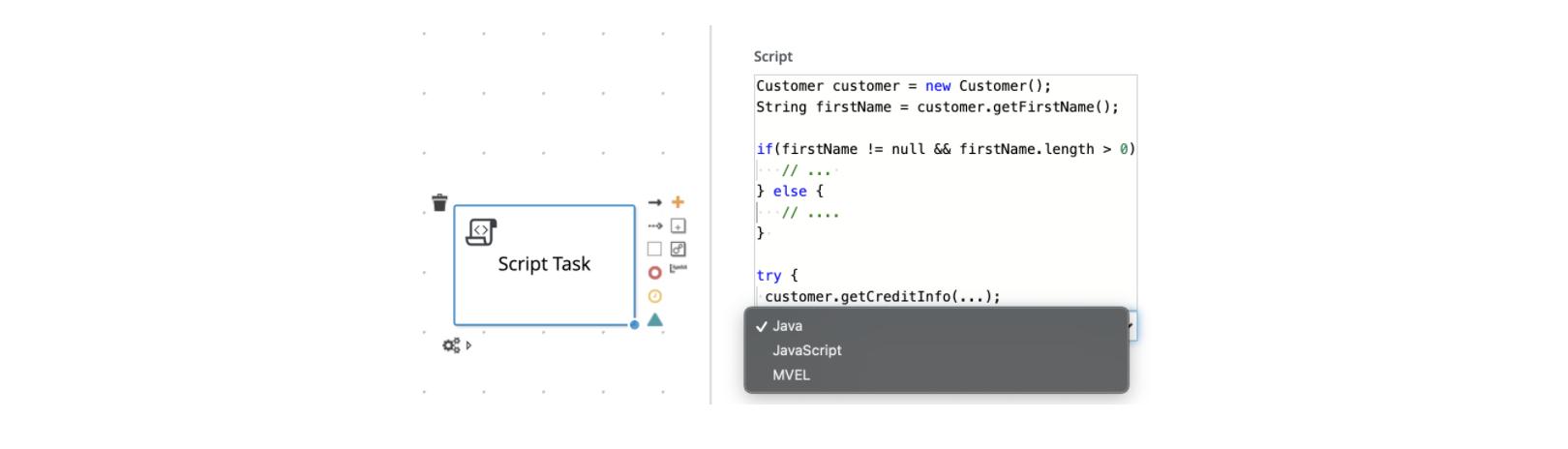 Code inside flow-chart-based DSL