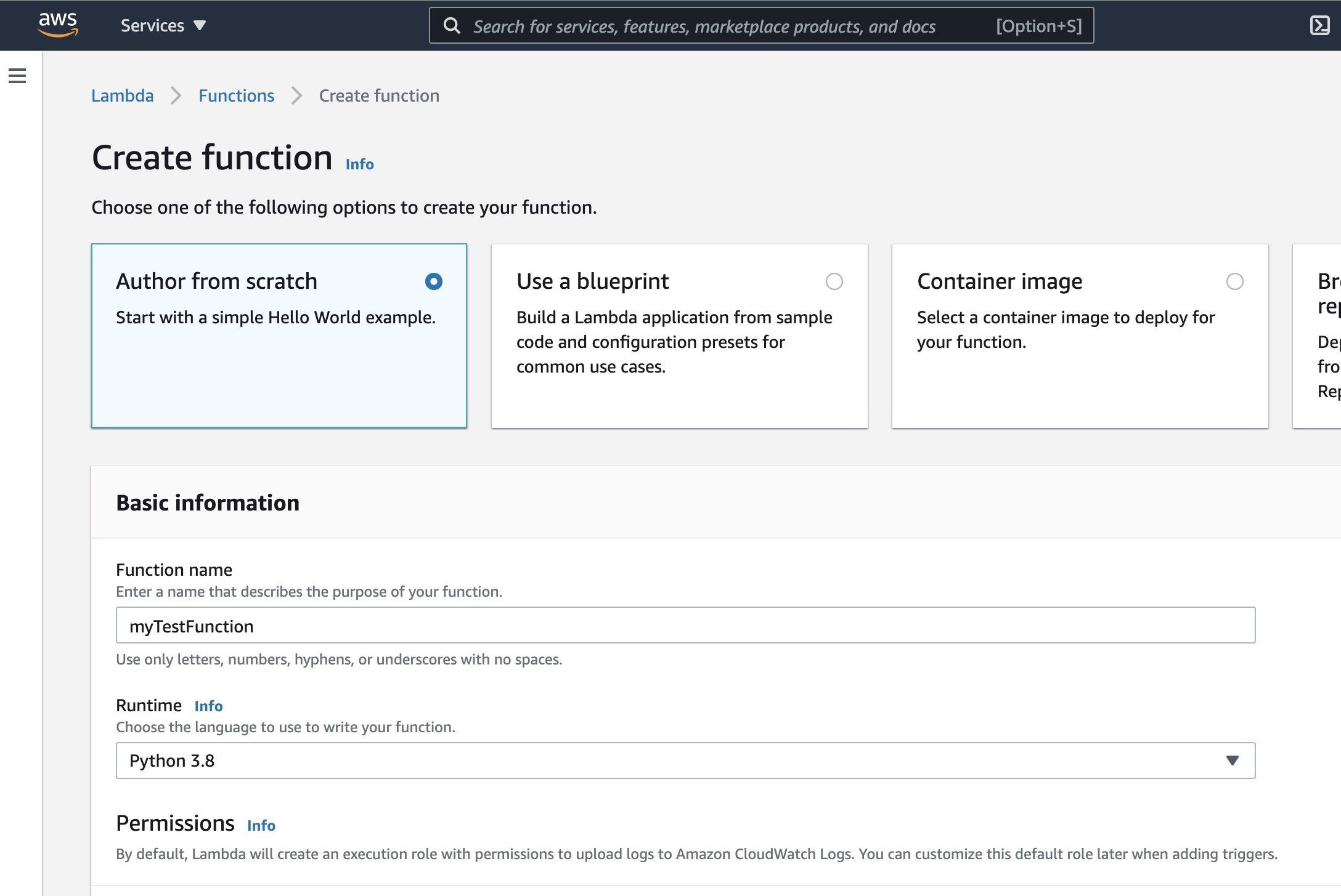 create lambda function page