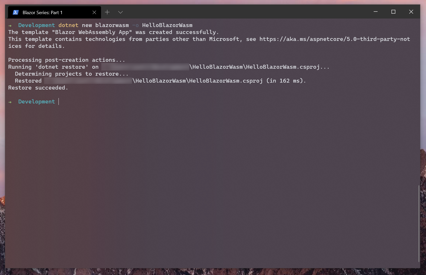 Screen shot of running the dot net new command within Windows Terminal
