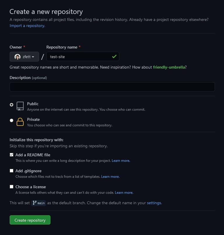 Screenshot of the GitHub repository creation dashboard