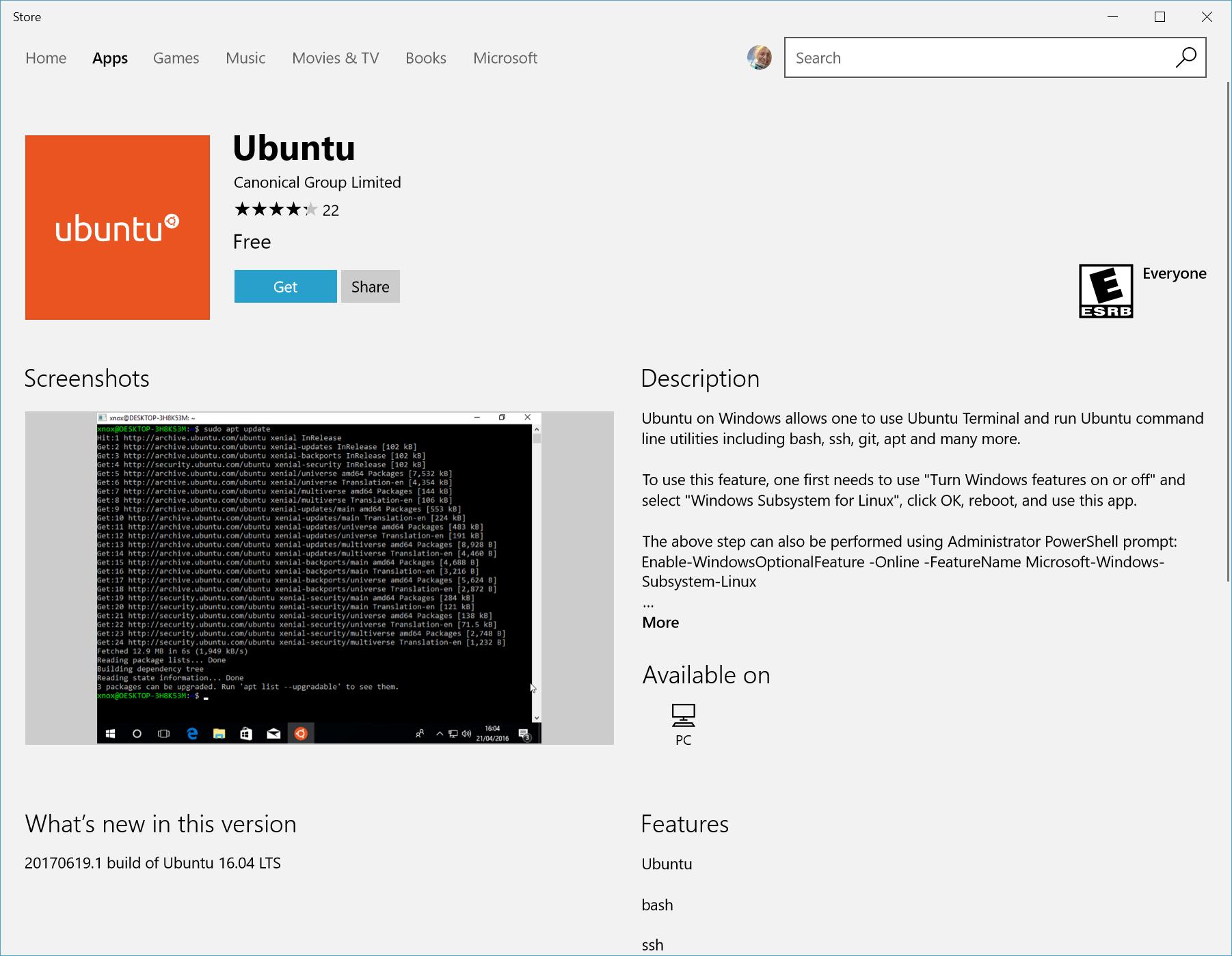 Ubuntu for WSL on Microsoft Store