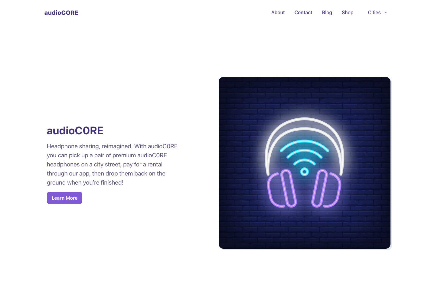 audioC0RE landing page